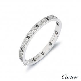 Cartier White Gold Pave Diamond & Ceramic Love Bracelet Size 17 N6032417